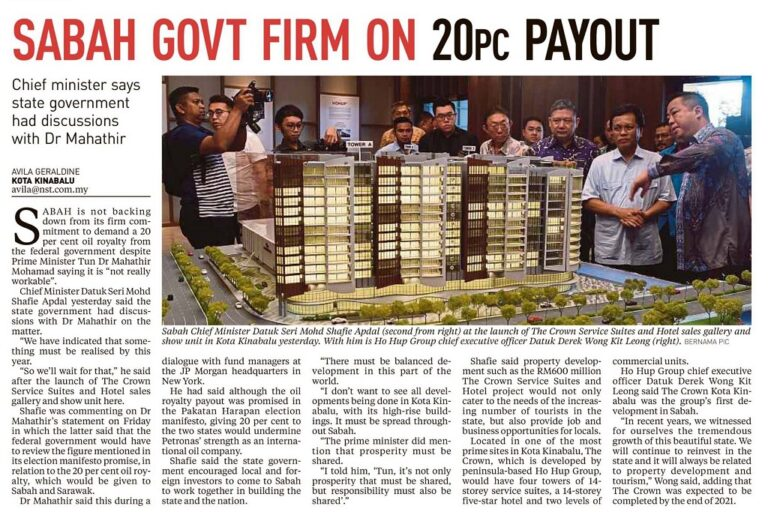 Sabah Govt Firm on 20pc Payout